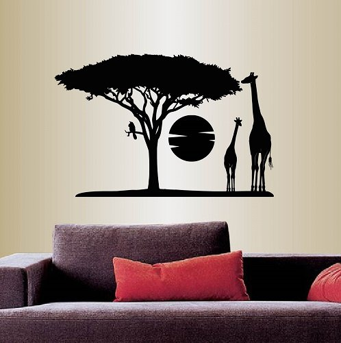 Wall Vinyl Decal Home Decor Art Sticker Africa Savannah Giraffes Tree Wild Animal Safari Landscape Travel Removable Stylish Mural Unique Design For Any Room 353