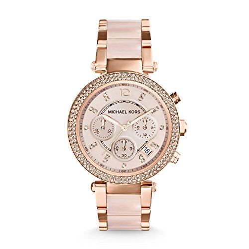Michael Kors - Reloj cronógrafo para mujer en acero inoxidable con correa y caja chapadas en oro rosado y detalles de cristales - MK5896