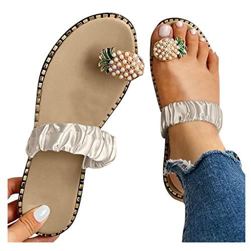 Writtian Mujeres Sandalias Planas Sandalias Casuales Zapatos de Verano Mujeres Peep Toe Perla de piña Bohemia Estilo Rhinestone Sandalias Casual impresión Sandalias Planas