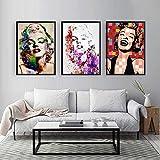 DASHBIG Famosa Estrella Marilyn Monroe Imprime Lienzo y Pinturas Cuadros artísticos de Pared para decoración de Sala de Estar | 40x60cmx3 sin Marco