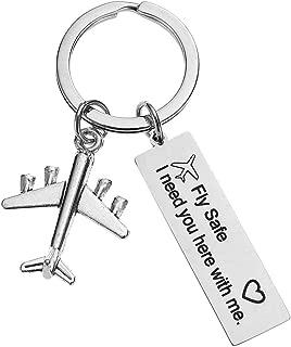 Fly Safe Airplane Gift Keychain Traveler Gift Key Chain Pilot Flight Attendant Air Hostess Stewardess Gift Airplane Jet Keychain