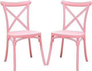 2 Sillas Crossback Color Rosa, Sillas de Comedor o Cocina. Incluye 2 sillas. Elegantes para Cocina o Comedor, apilables y Muy Resistentes.