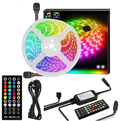 LED Strip Lights Kit, 5m RGB 5050 300led Strips Lighting, IP65 Waterproof LED Colour Changing Kit, for Home Kitchen Christmas Indoor Decoration