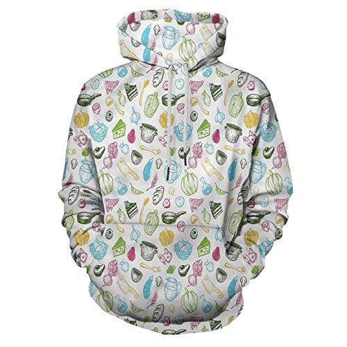 Vegetables Hoodie Hooded Sweatshirt Kitchen Elements Pot for Men/Women