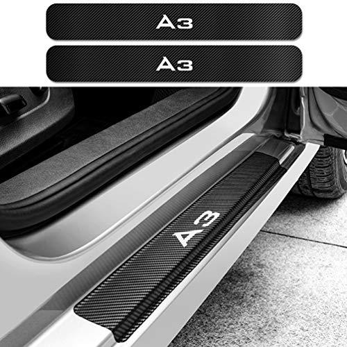 HUAQIEMI 4Pcs Carbon Fiber Placa de Decoración Estribos Desgaste Alféizar Puerta, para Audi A3 8P 8L 8V Protector Umbral Pasos Pedal Coche Antiarañazos Accesorios