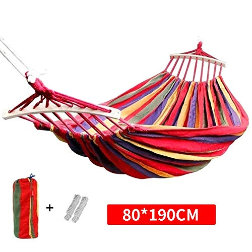 LEAMER Outdoors Cotton Fabric Canvas Travel Hammocks 330lbs Ultralight Camping Hammock Portable Beach Swing Bed with Hardwood Spreader Bar Tree Hanging Suspended Outdoor Indoor Bed