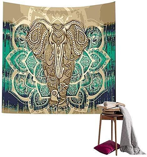 Mandala Tapiz de Pared Indio Bohemio Psicodélico Elefante Hippie Colgar en la Pared Tapices Blancos Toalla de Playa Estera de Yoga Manta Tiro-130 X 150 cm