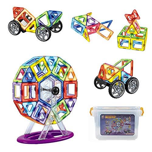 Soul hill Holzblock Magnetische Bausteine Set Kindergarten Kreative Lernspielzeug Magnetische Bausteine Spielzeug 142 PCS (Farbe: Mehrfarbig, Größe: 142PCS) (Color : Multicolored, Size : 90PCS)