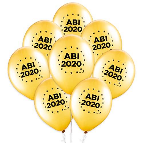 feiermeier® Latexballons Abi 2020 ca.33cm Durchmesser 8 Stück Gold Helium Ballongas geeignet Schulabschluss nur mit Noogel in die Woond