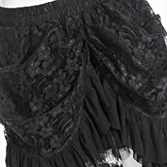 COSWE Women's Black Lace Punk Irregular Dress Steampunk Skirt Cosplay Costume (3XL) #3