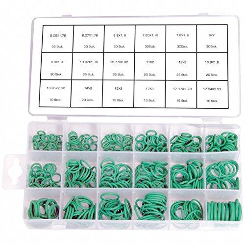 420 x O-Ring Sortiment GRÜN Dichtring Dichtung Temperaturständig für Klimaleitungen / Klimaanlage R134a (im Aufbewahrungsbox / Sortimentsbox)