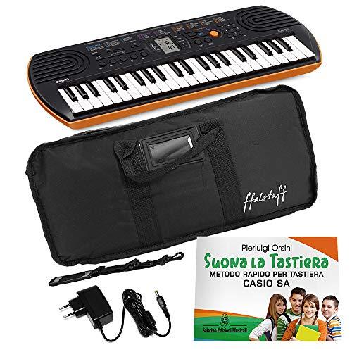 Kit Pianola Tastiera Casio SA 76 (Fondo Arancione) con Borsa ffalstaff imbottita, Alimentatore e Metodo'Suona la Tastiera'