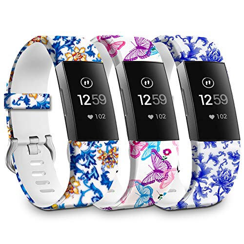 Replacement Watch Bands Compatible for Fitbit Charge 4 Bands,HMJ Band Silicone Sport Wristband for Fitbit Charge 4/Charge 3/Charge 3 SE Smartwatch for Girls Women,3PCS