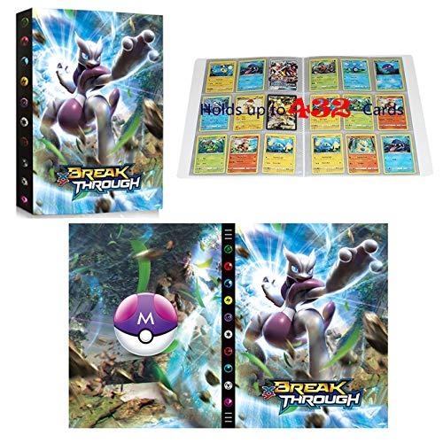 Classeur compatible avec cartes Pokemon, Album Compatible Avec Cartes Pokemon GX EX MEGA, Porte Album de cartes à collectionner, Peut contenir 432 cartes (3DMewtwo)
