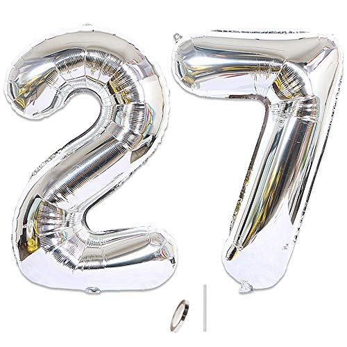 Huture 2 Luftballons Zahl 27 Figuren Aufblasbar Helium Folienballon Große Folienmylar Ballons Riesen Silber Ballons 40 Zoll Luftballons Zahl für Geburtstag Party Dekoration Abschlussball XXL 100cm