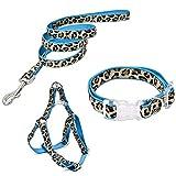 PAWZ Road Leopard - Conjunto de arnés para Correa de Mascota (Azul, S)