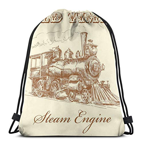Drawstring Tote Bag Gym Bags Storage Backpack, Old Times Train Vintage Hand Drawn Iron Industrial Era Locomotive,Very Strong Premium Quality Gym Bag for Adults & Children