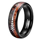 iTungsten 6mm Black Tungsten Rings for Men Women Wedding Bands Koa Wood Arrow Inlay Domed Polished Shiny Comfort Fit
