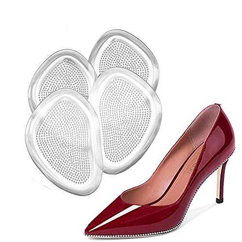 Gel Insoles for Women (4 Pieces), Rapid Pain Relief Ball of Foot Cushions Forefoot Shoe Cushions Party Shoes High Heel Gel Pads, Rapid Pain Relief