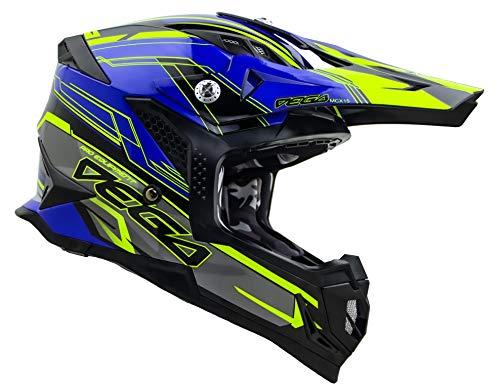 Vega Helmets Unisex-Adult Off-Road MCX Lightweight Fully Loaded Dirt Bike Helmet (Blue Stinger Graphic, LG)