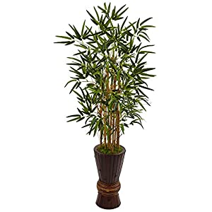 Nearly Natural 4.5 Artificial Tree in Bamboo Planter, Green