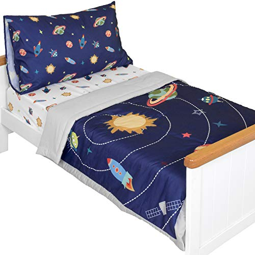 TILLYOU 5 Pieces Space Theme Toddler Bedding Set (Embroidered Quilt, Fitted Sheet, Flat Sheet, Pillowcases) - Microfiber Printed Nursery Bedding for Boys Girls, Navy Blue