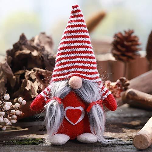 1 unids Sombrero de Rayas Sección Atado Barba Sin Cara Adornos Muñecas Escena de Navidad Decoración Muñeca (Color : Red)