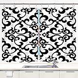 MIFSOIAVV Cortina de Cocina Gris Flor Patrón Floral Barroco Damasco Blanco y Negro Gráfico Moderno Juegos de Tratamiento de Ventanas Cortinas 2 Paneles con Ganchos,140x100CM