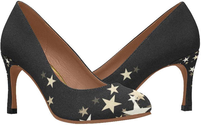 InterestPrint Womnen's High Heels Pumps shoes Printed Stars Black Slip On Comfort shoes