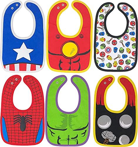 Marvel Avengers Baby Boys' Bibs 6 Pack Spiderman Hulk Thor Iron Man...