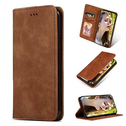 BESTCASESKIN Funda iPhone 6 Plus/6S Plus Billetera Carcasa Cuero Leather Protectora Cubierta Cover Ligera PU Slim Soporte Case Caso Libro Piel Plegable Cartera + Cristal Templado, Marrón