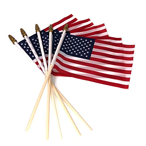 Pack of 100, Small US American Handheld Flags, 4x6 Inch Golden Spear Tip, Stick Flags by Crystal Lemon