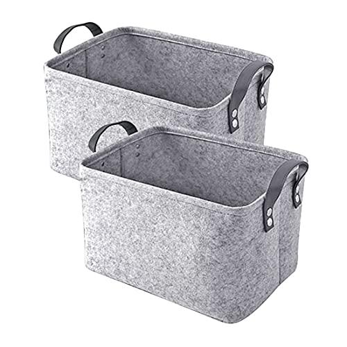 Dake Fieltro Caja de almacenaje Cesta de fieltro con asa, 2 unidades, plegable, duradera, cesta para...