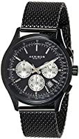 Akribos XXIV Men's Black Chronograph Tachymeter Scale Watch - Matte Dial - Luminous Hands and Markers - Stainless Steel...