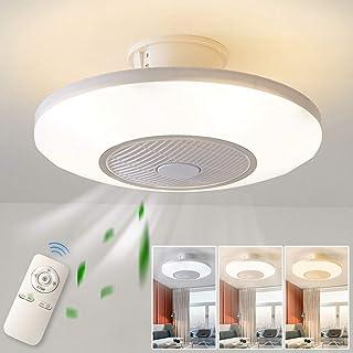 Luz del ventilador de techo,moderna LED Ventilador de techo Lámpara de techo con luz Y mando a distancia ventilador LuzdeTecho-aspas Reversibles Plafones dormitorio Iluminacióndetecho,Luz nocturna