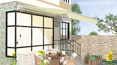 Schartec Gelenkarmmarkise M1100 in vielen Farben und Größen - manuelle Markise mit Handkurbel für Terasse und Balkon (250 x 200, beige)