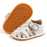 SOFMUO Baby Girls Boys Sparkly Sandals Premium Soft Anti-Slip Rubber Sole Infant Summer Outdoor Shoes Closed Toe Toddler First Walkers(A1/White,12-18 Months)
