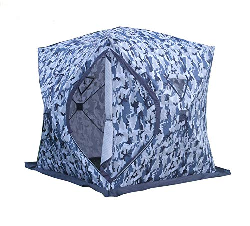 DANCHEL 4-Person Waterproof Insulated Pop-up Ice Fishing Shelter Tent with Ventilation Windows & Carrier Bag (Camouflage)
