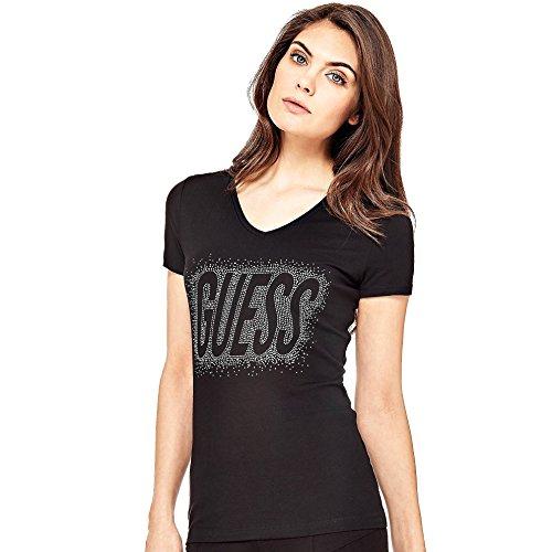 Guess Damen Ss Vn Studs Logo Tee T-Shirt, Schwarz (Jet Black A996), Large