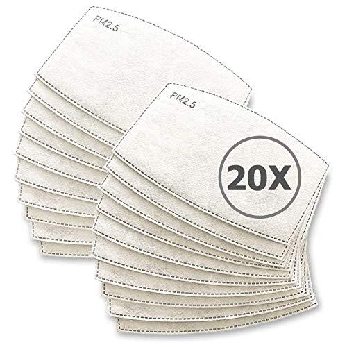 TBOC Filtro Monouso per Mascherina - [Pack 20 Unità] Lotto di Filtri intercambiabili 5 Strati di Filtrazione Sostituibili Materiale Morbido e Traspirante Protezione Polvere Inquinamento Agenti Dannosi