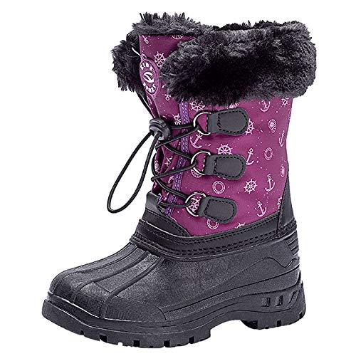 LSYSAG - Botas de nieve impermeables forradas con borreguillo para niños