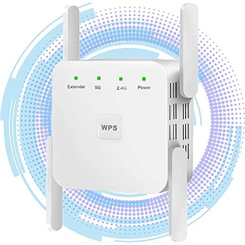 Repetidor WiFi inalámbrico, 1200 Mbps WiFi Range Extender Dual Band, 2.4G/5G Amplificador...