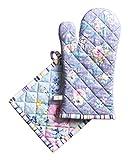 Maison d' Hermine Sweet Rose Lavendel-üppiger Lavendel 100prozent Baumwolle Set aus Ofenhandschuh (19 cm x 33 cm) & Topflappen (20 cm x 20 cm) zum Grillen