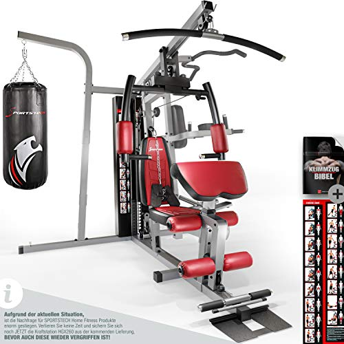 Sportstech Premium 50in1 Kraftstation für EIN Allround Training | Multifunktions-Heimtrainer mit Stepper & LAT-Zugturm | HGX Fitness-Station aus Eva Material | Robust für Zuhause (HGX260 Modell2021)