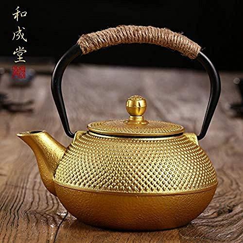 Nuokix teteras, Juegos de té Teteras Tetera de hierro fundido Ollas té azul flor de cerezo hierro olla de esmalte pared interior está moldeada No oxidada del hierro del pote del té hervido té Agua Hie