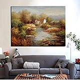 KWzEQ Pintura al óleo Abstracta Impresa HD del Paisaje del jardín mediterráneo en la Lona Cartel Moderno del sofá60X80cmPintura sin Marco