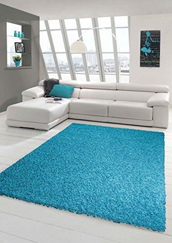 Shaggy Teppich Hochflor Langflor Teppich Wohnzimmer Teppich Gemustert in Uni Design Türkis Größe 120x170 cm
