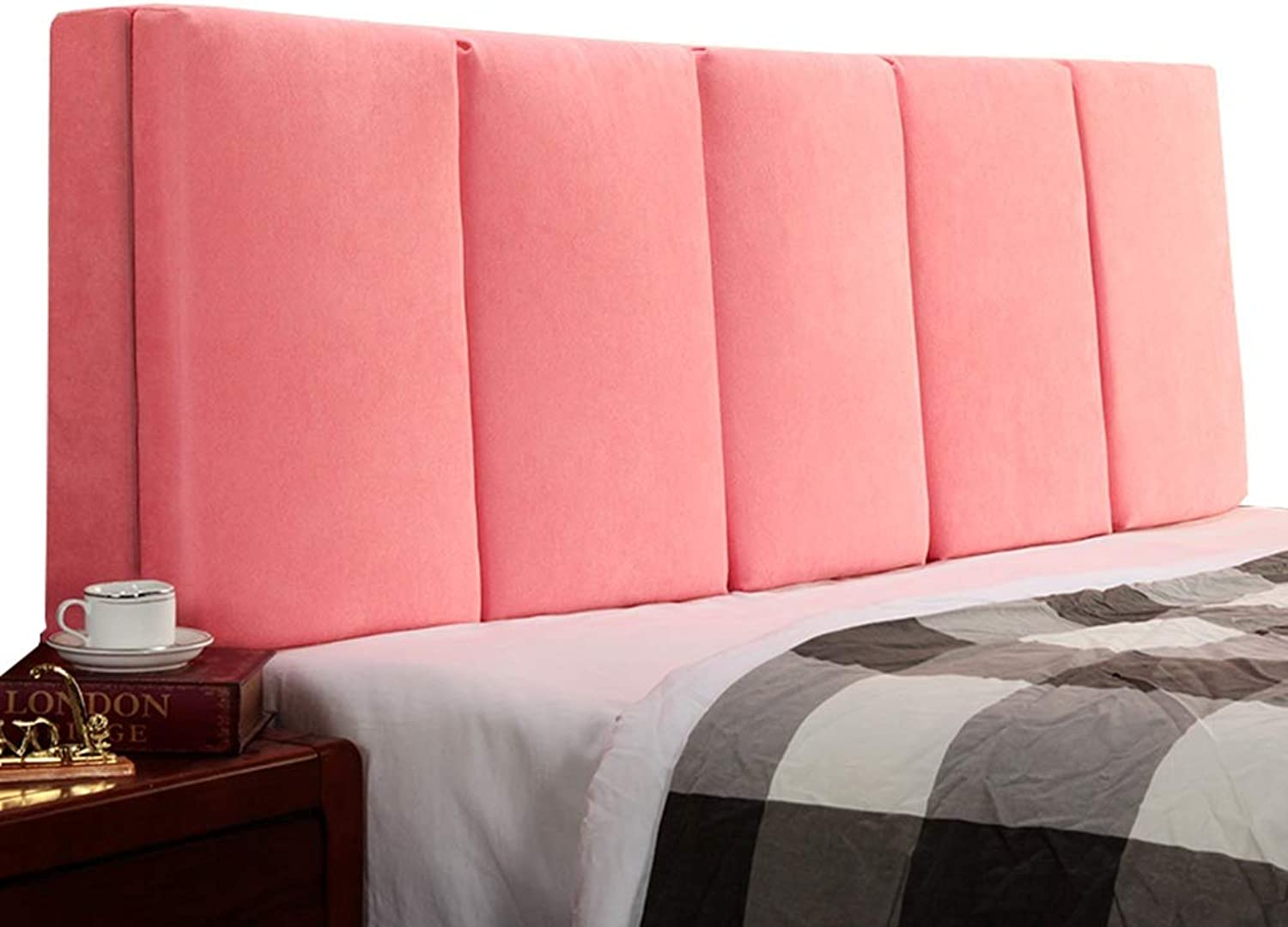 WENZHE Upholstered Fabric Headboard Bedside Cushion Pads Cover Bed Wedges backrest Waist pad Stripe Soft Case Cloth Washable Home Waist Belt Backrest, 4 colors (color   A-Pink, Size   120x55x5cm)