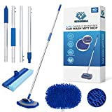 Scrubbia Car Wash Brush - with Long Handle 64' Car Wash Mop with 180° Cleaning Angle, 2 in 1 Chenille Microfiber Mitt with Free Window Squeegee, Scratch Free Tools for Washing Car, Truck, RV, and SUV