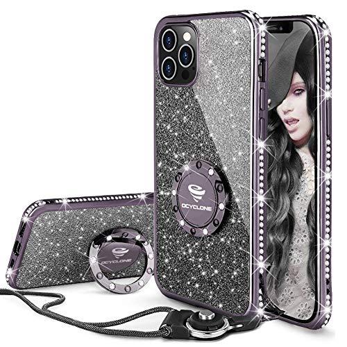 OCYCLONE Funda para iPhone 12 Pro MAX, Glitter Cristal Diamante Brillante y Soporte de Anillo para Niñas y Mujeres, Funda para Teléfono con Purpurina para iPhone 12 Pro MAX de 6.7 Pulgadas - Negro
